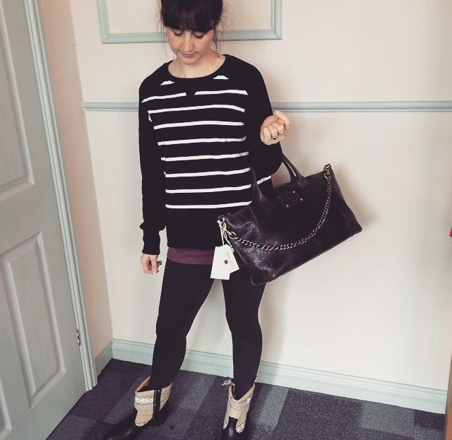 Featuring; Beaumont Organic sweater, O My Bag Fly Violet Eco Black, EKO Leggings, EMU vest, Kiboots Inez